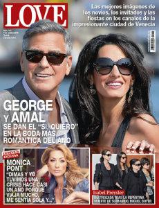 George Clooney y la abogada Amal Alamuddin en la portada de la revista Love